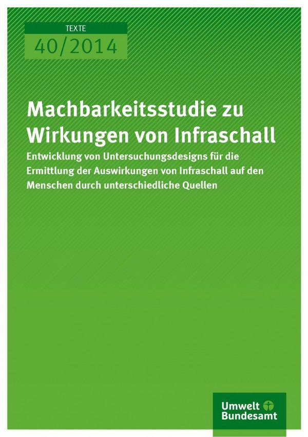 Cover Texte 40/2014 Machbarkeitsstudie zu Wirkungen von Infraschall