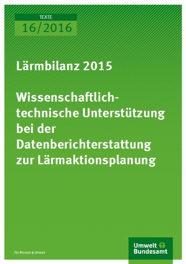 Cover Texte 16/2016 Lärmbilanz 2015