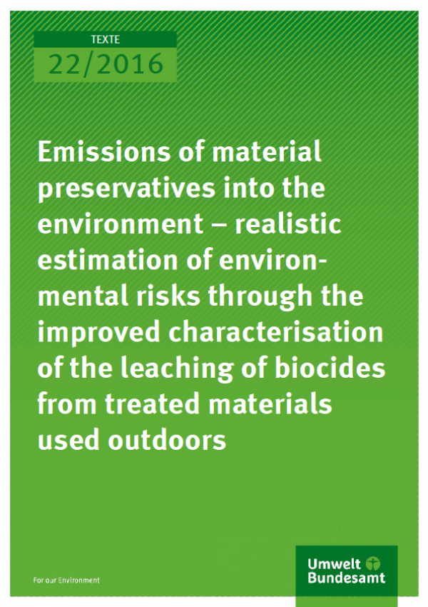 Cover Texte 22/2016 Emissions of material preservatives into the environment – realistic estimation of environmental risks through the improved characterisation of the leaching of biocides from treated materials used outdoors