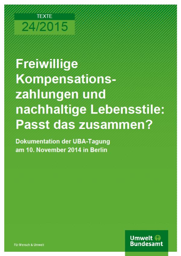 Cover Texte 24/2015 Freiwillige Kompensationszahlungen und nachhaltige Lebensstile: Passt das zusammen?
