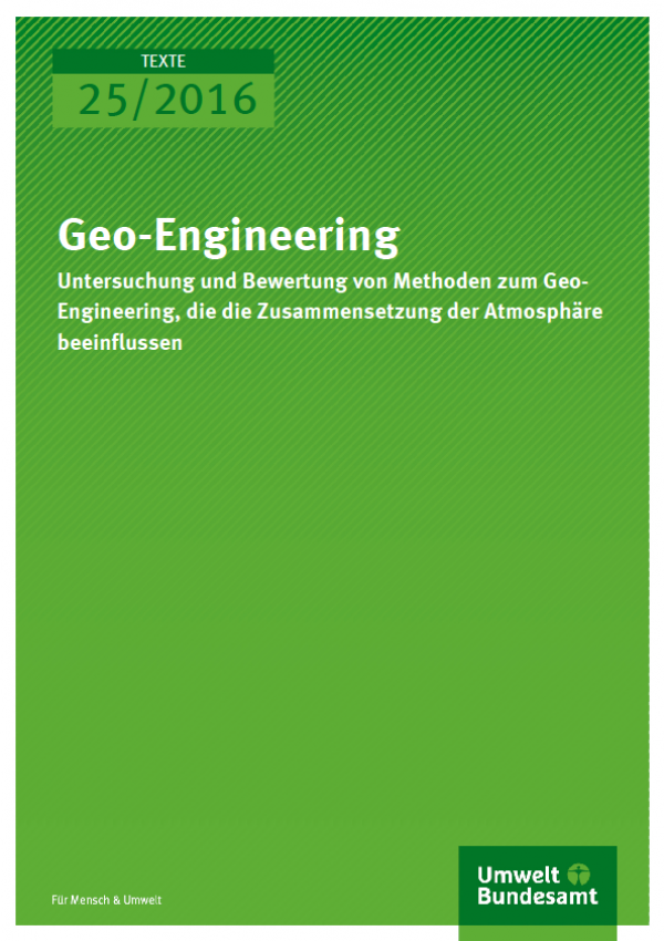 Cover Texte 25/2016 Geo-Engineering