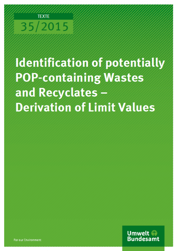 Cover Texte 35/2015 Identification of potentially POP-containing Wastes and Recyclates – Derivation of Limit Values