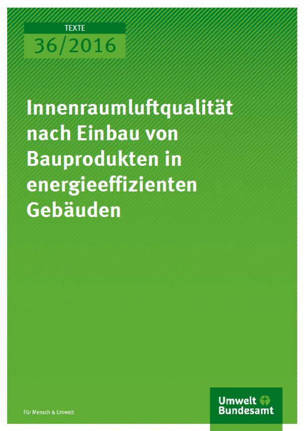 Cover Texte 36/2016 Innenraumluftqualität nach Einbau von Bauprodukten in energieeffizienten Gebäuden