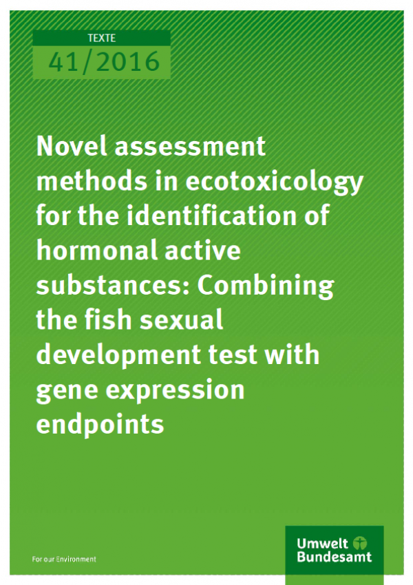 Cover Texte 41/2016 Novel assessment methods in ecotoxicology for the identification of hormonal active substances: Combining the fish sexual development test with gene expression endpoints