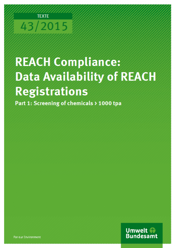 Cover Texte 43/2015 REACH Compliance: Data Availability of REACH Registrations Part 1: Screening of chemicals > 100 tpa