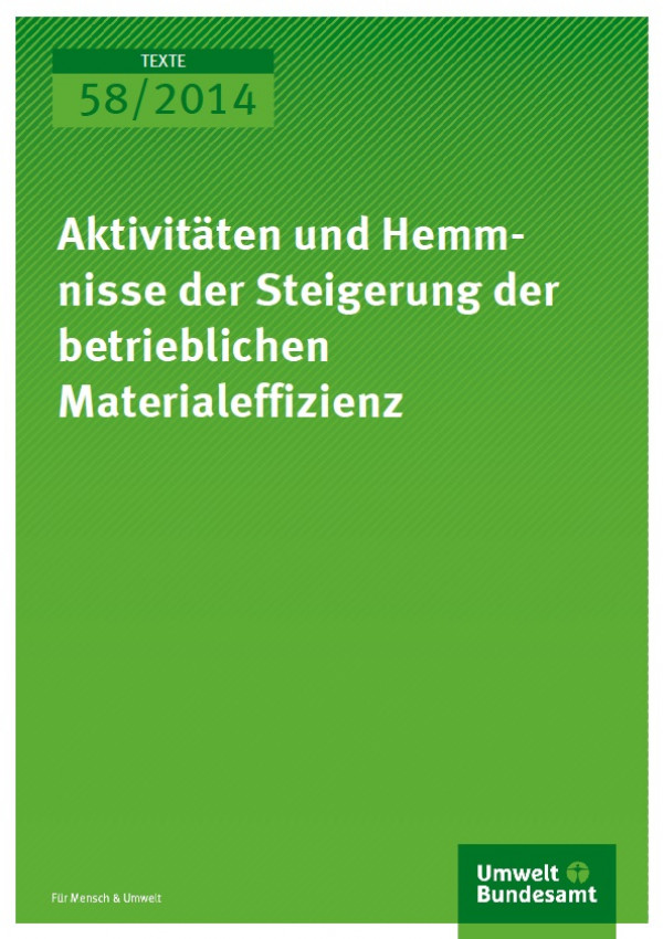 Cover Texte 58/2014 Aktivitäten und Hemmnisse der Steigerung der betrieblichen Materialeffizienz