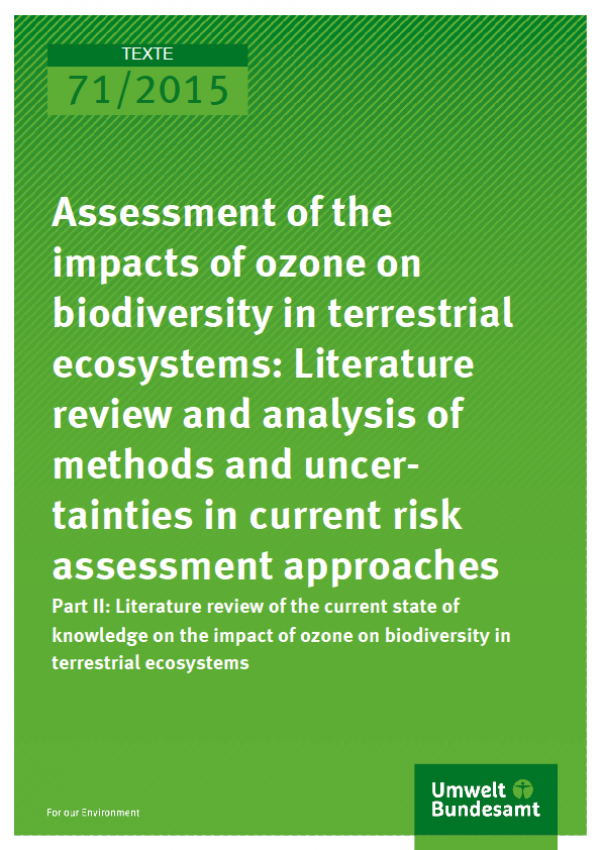 Cover Texte 71/2015 Assessment of the impacts of ozone on biodiversity in terrestrial ecosystems: Literature review and analysis of methods and uncertainties in current risk assessment approaches