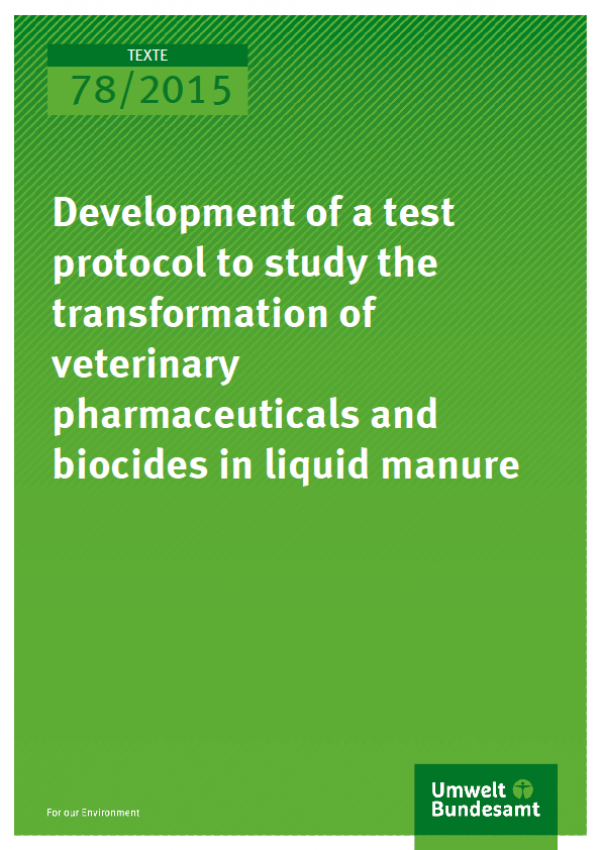 Cover Texte 78/2015 Development of a test protocol to study the transformation of veterinary pharmaceuticals and biocides in liquid manure