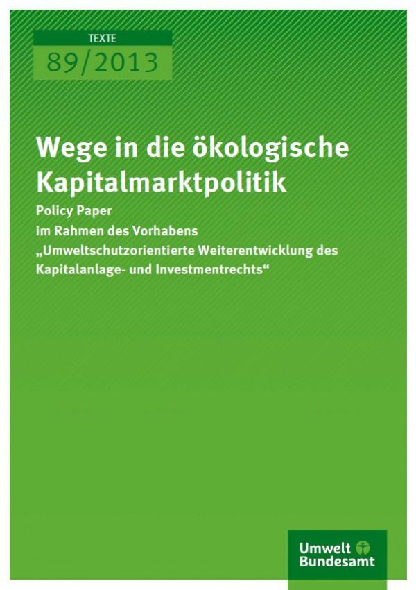 Cover 89/2013 Wege in die ökologische Kapitalmarktpolitik