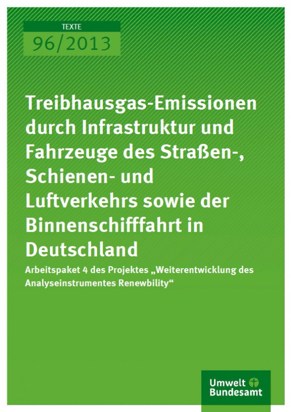 Cover Treibhausgas-Emissionen durch Infrastruktur und Fahrzeuge des Straßen-, Schienen- und Luftverkehrs sowie der Binnenschifffahrt in Deutschland