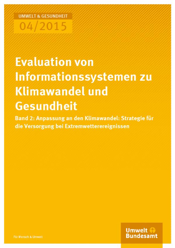 Cover U&G 04/2015 Evaluation von Informationssystemen zu Klimawandel und Gesundheit Band 2