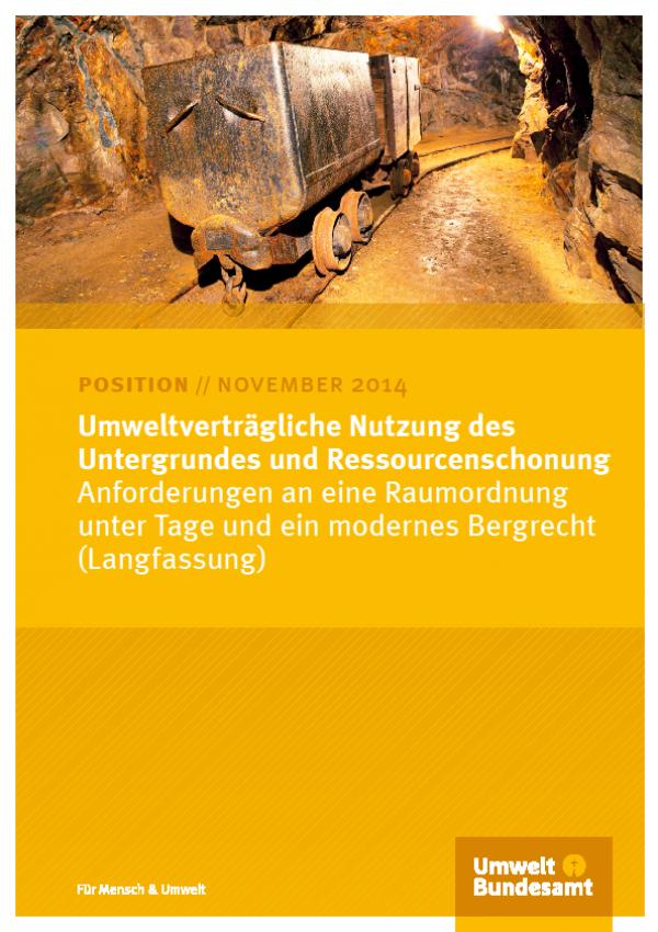 Cover Umweltverträgliche Nutzung des Untergrundes und Ressourcenschonung