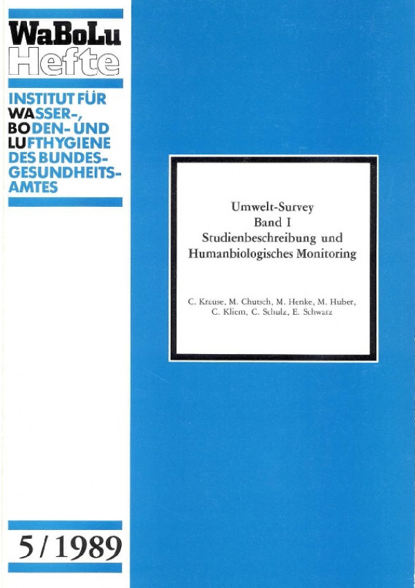 Cover WaBoLu-Heft 5/1989 Umwelt-Survey Band 1 Studienbeschreibung und Humanbiologisches Monitoring