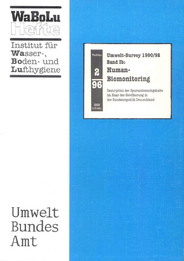 Cover WaBoLu 2/1996 Deskription der Spurenelementgehalte im Haar der Bevölkerung in der BRD