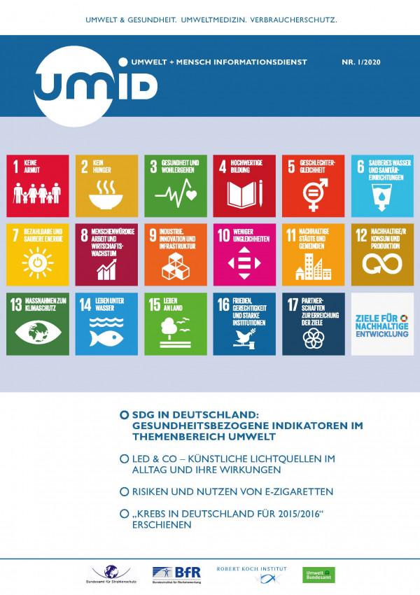 Titelseite der Publikation UMID, Umwelt + Mensch Informationsdienst, Ausgabe 1/2020 mit Piktogrammen der 17 Ziele für nachhaltige Entwicklung der Vereinten Nationen