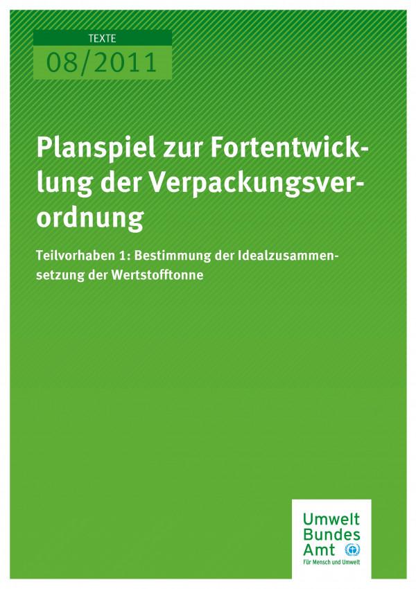 Publikation:Planspiel zur Fortentwicklung der Verpackungsverordnung - Teilvorhaben 1: Bestimmung der Idealzusammensetzung der Wertstofftonne