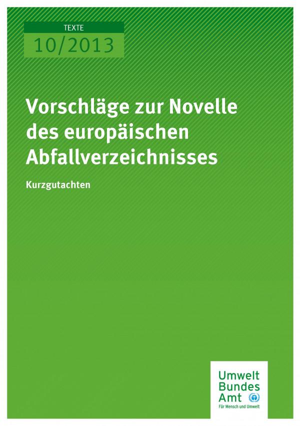 Publikation:Vorschläge zur Novelle des europäischen Abfallverzeichnisses