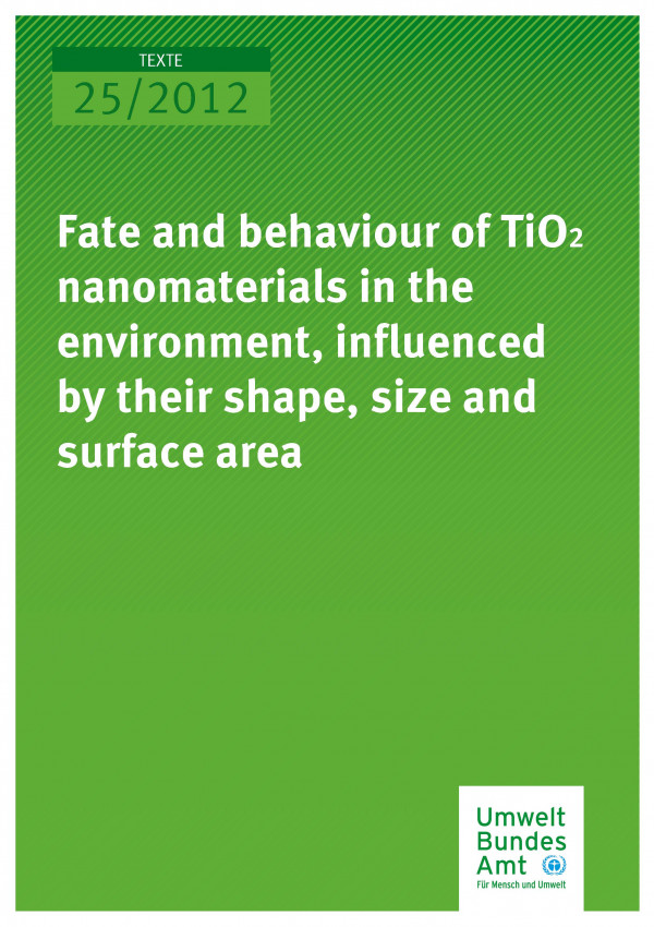 Publikation:Fate and behaviour of TiO2 nanomaterials in the environment, influenced by their shape, size and surface area