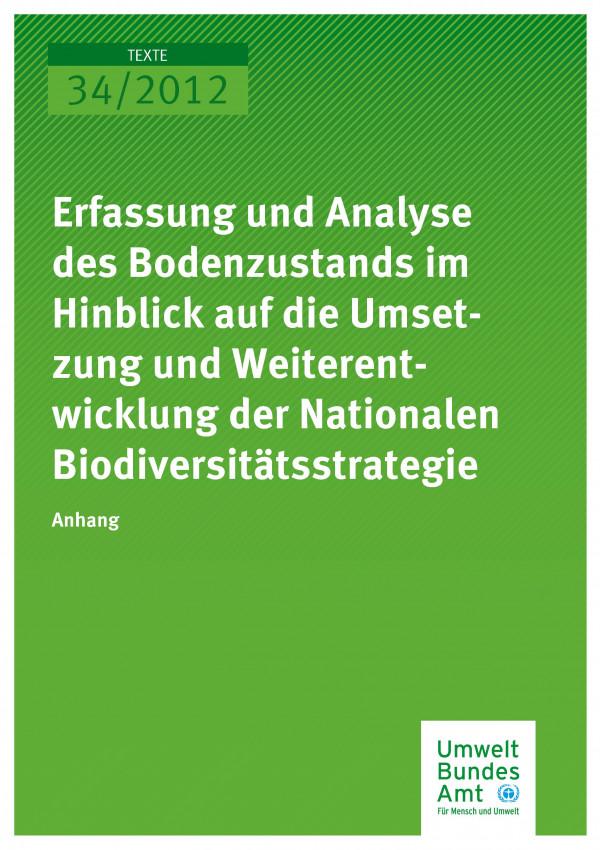 Publikation:Erfassung und Analyse des Bodenzustands im Hinblick auf die Umsetzung und Weiterentwicklung der Nationalen Biodiversitätsstrategie - Anhang