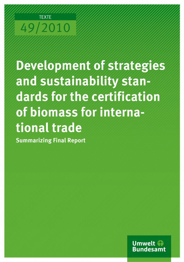 Publikation:Development of strategies and sustainability standards for the certification of biomass for international trade