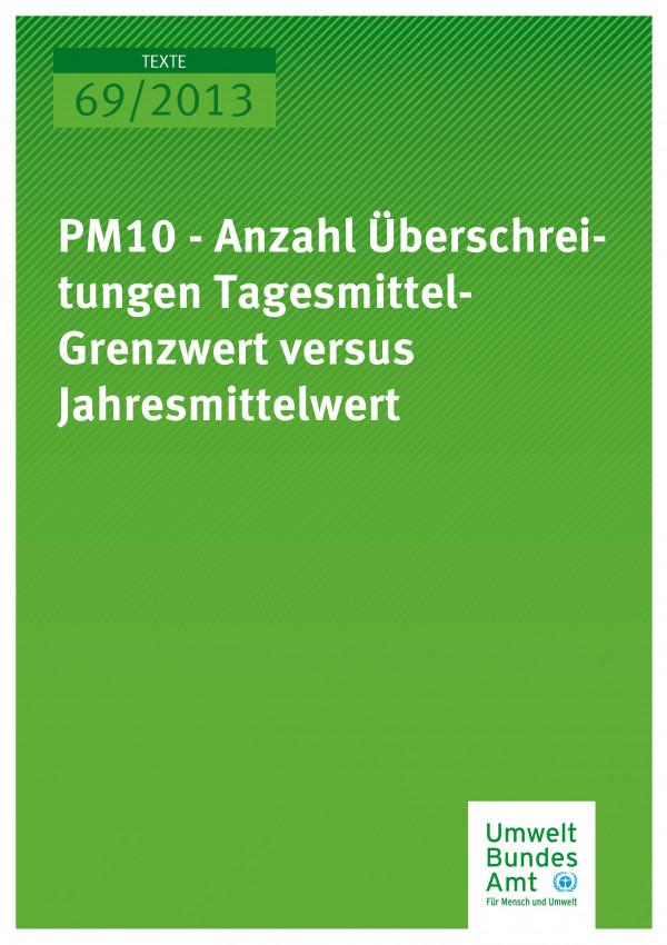 Cover Texte 69/2013 PM10 – Anzahl Überschreitungen Tagesmittel-Grenzwert versus Jahresmittelwert