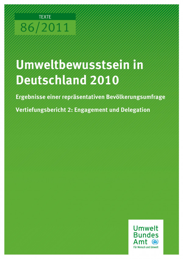 Publikation:Umweltbewusstsein in Deutschland 2010 - Vertiefungsbericht 2: Engagement und Delegation