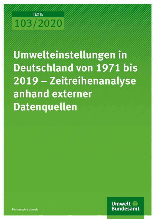 Cover_TEXTE_103-2020_Umwelteinstellungen in Deutschland von 1971 bis 2019