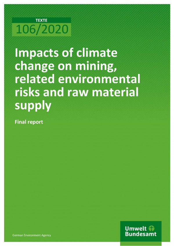 Cover_TEXTE_106-2020_Impacts of climate change on mining, related environmental risks and raw material supply