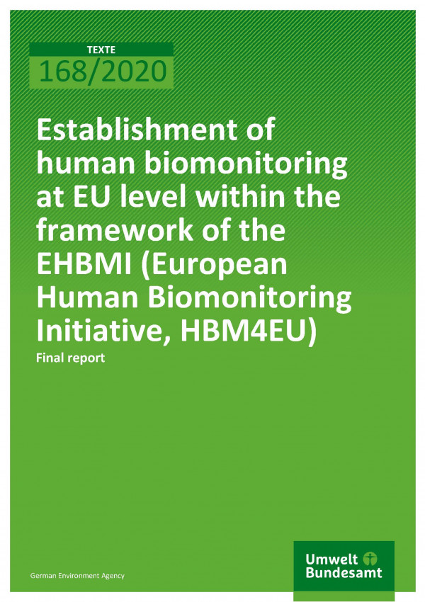 Cover_TEXTE_168-2020_Establishment of human biomonitoring at EU level within the framework of the EHBMI