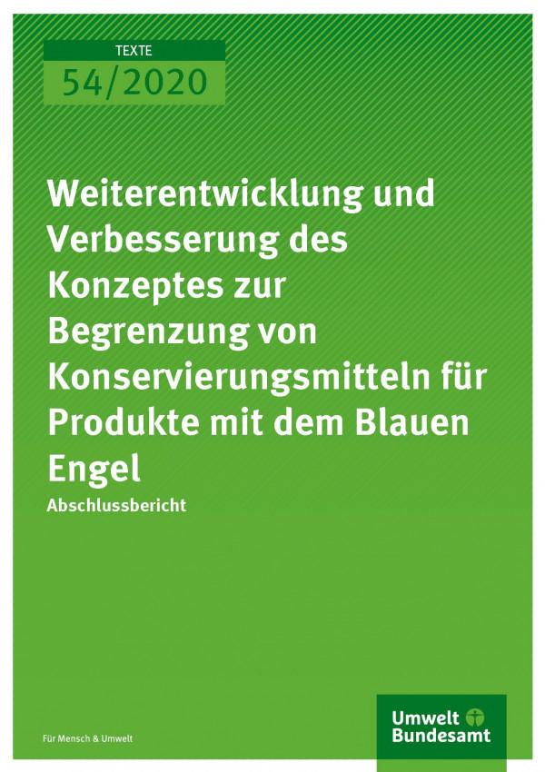 Cover_TEXTE_54-2020_Konservierungsmittel Blauer Engel