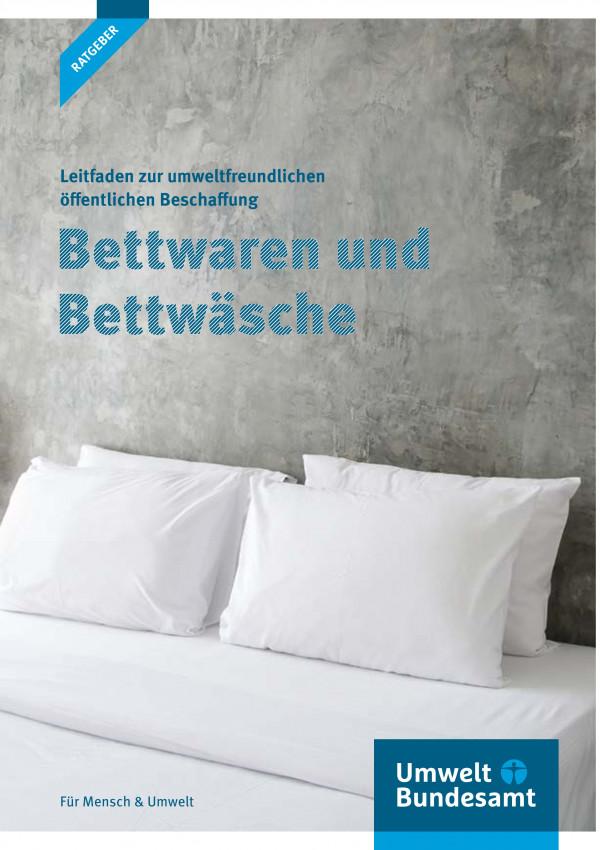 """Titelseite der Ratgeber-Broschüre """"Leitfaden zur umweltfreundlichen öffentlichen Beschaffung: Bettwaren und Bettwäsche"""""""