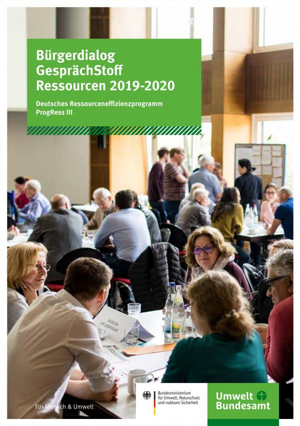 """Titelseite der Broschüre """"Bürgerdialog GesprächStoff Ressourcen 2019-2020: Deutsches Ressourceneffizienzprogramm ProgRess"""""""