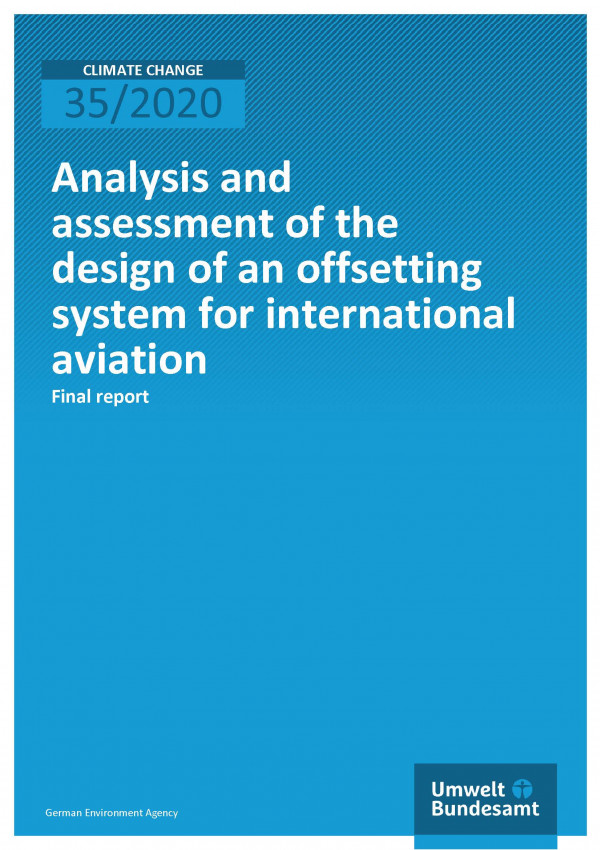 Cover of publication Climate Change 35/2020 Analysis and assessment of the design of an offsetting system for international aviation