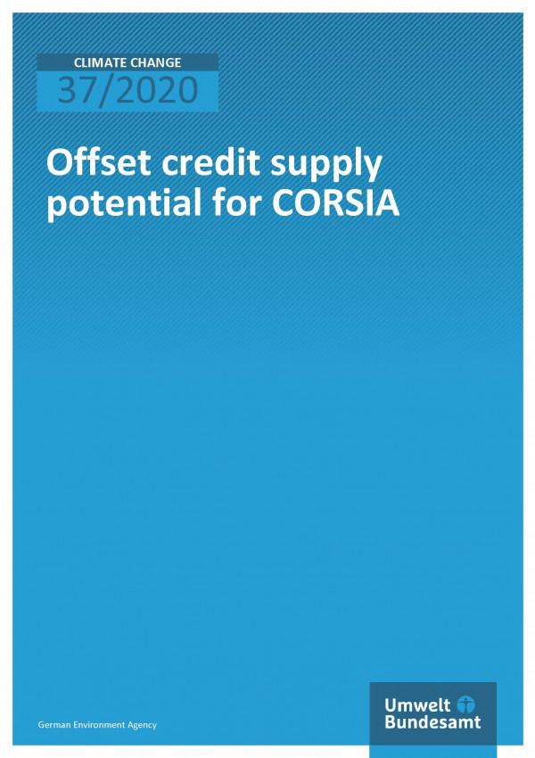 Cover of publication Climate Change 37/2020 Offset credit supply potential for CORSIA