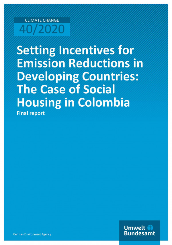 Cover of publication Climate Change 40/2020 Setting Incentives for Emission Reductions in Developing Countries: The Case of Social Housing in Colombia