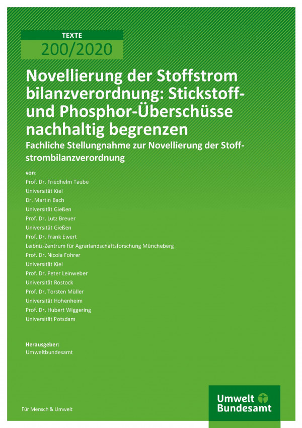 Cover der Publikation TEXTE 200/2020 Novellierung der Stoffstrombilanzverordnung: Stickstoff- und Phosphor-Überschüsse nachhaltig begrenzen