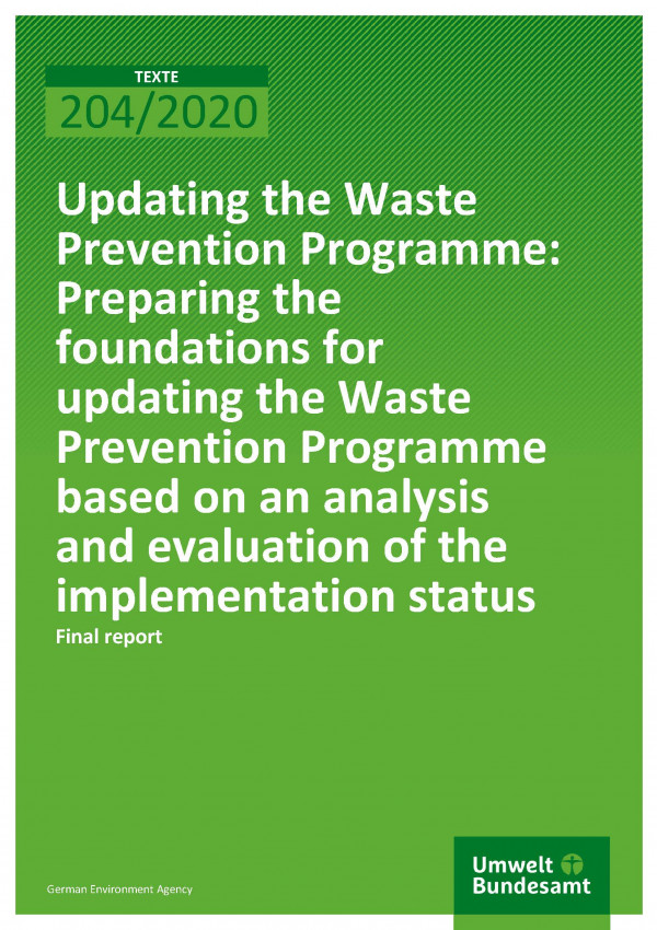 Cover of publication TEXTE 204/2020 Updating the Waste Prevention Programme: Preparing the foundations for updating the Waste Prevention Programme based on an analysis and evaluation of the implementation status