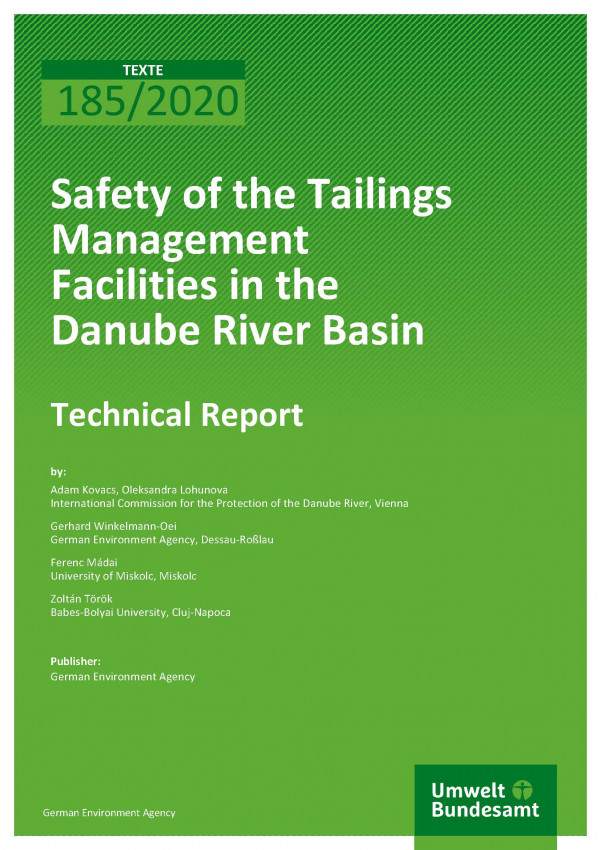 Cover of publication TEXTE 185/2020 Safety of the Tailings Management Facilities in the Danube River Basin