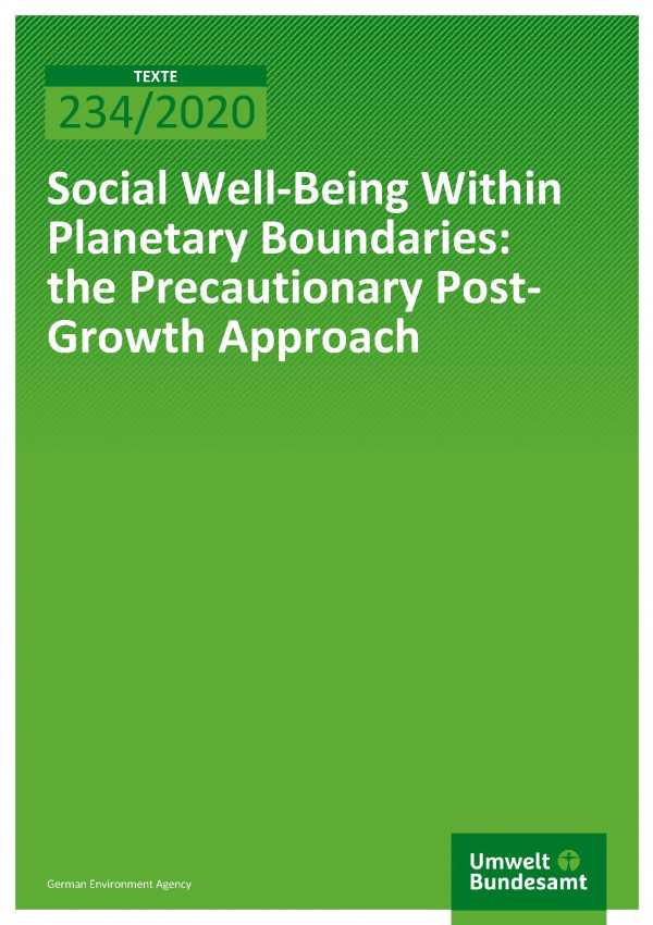 Cover of publication TEXTE 234/2020 Social Well-Being Within Planetary Boundaries: the Precautionary Post-Growth Approach