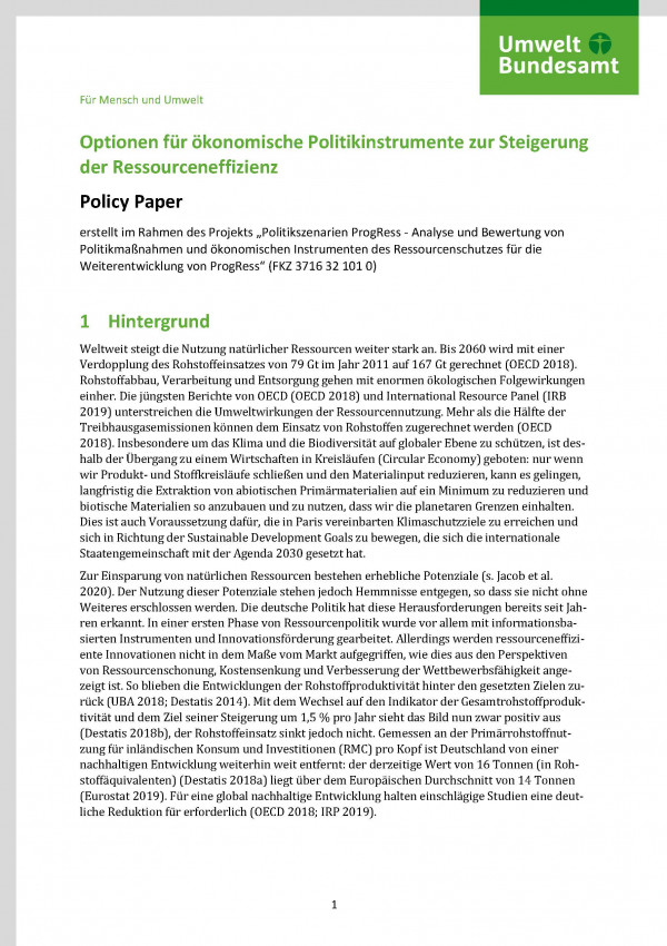 """Titelseite des Policy Papers """"Optionen für ökonomische Politikinstrumente zur Steigerung"""""""