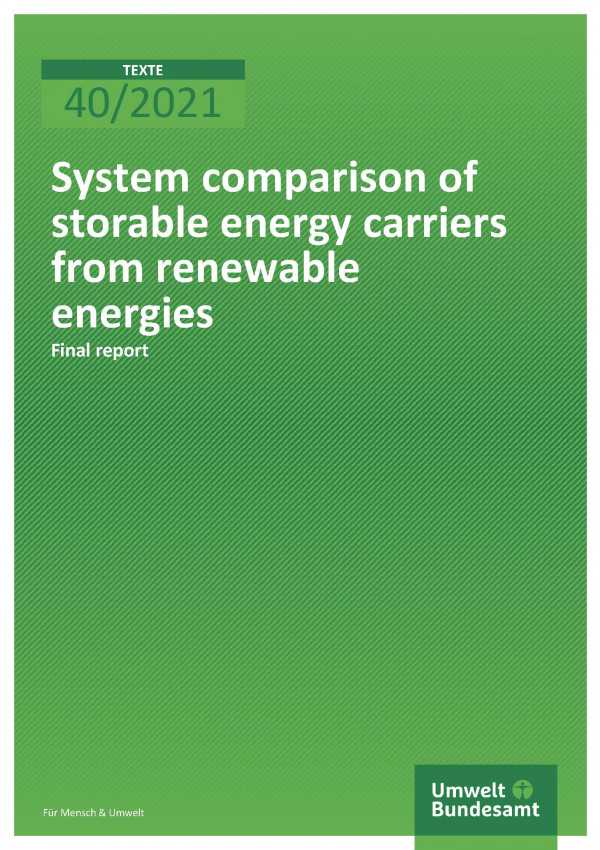 Cover of publication TEXTE 40/2021 System comparison of storable energy carriers from renewable energies