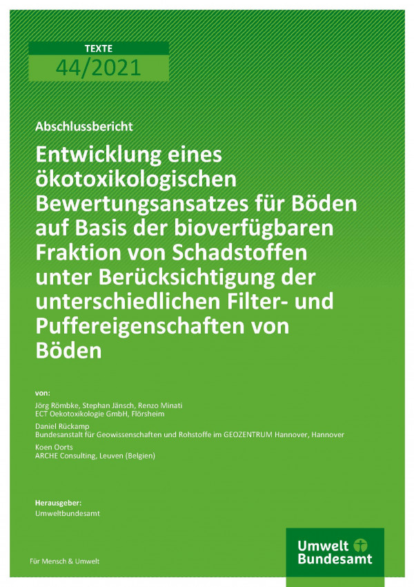 Titelseite der Publikation TEXTE 44/2021 Entwicklung eines ökotoxikologischen Bewertungsansatzes für Böden auf Basis der bioverfügbaren Fraktion von Schadstoffen unter Berücksichtigung der unterschiedlichen Filter- und Puffereigenschaften von Böden