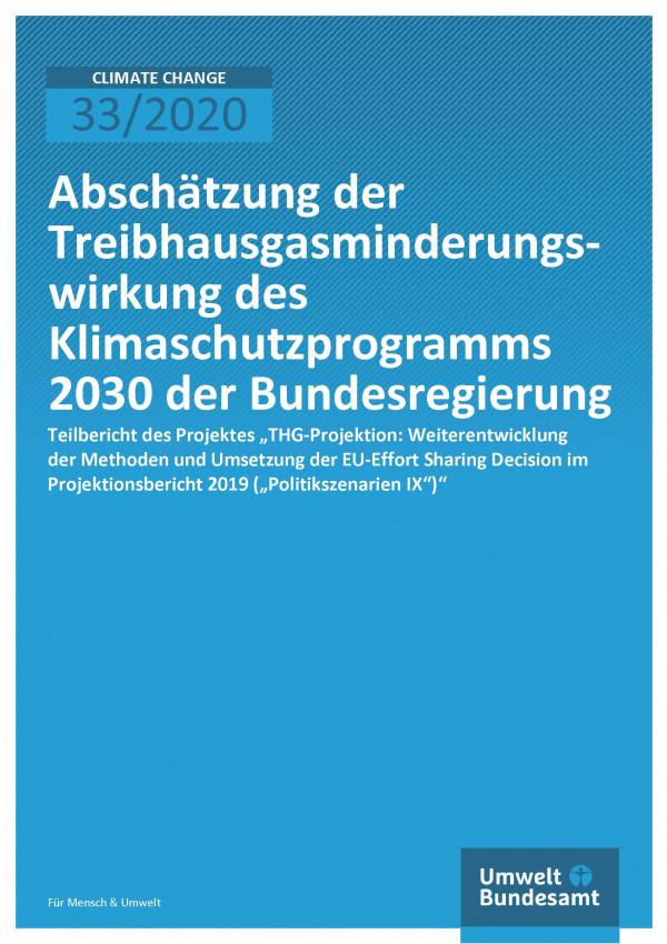 """blaue Titelseite des Climate Change-Bands 33/2020 """"Abschätzung der Treibhausgasminderungswirkung des Klimaschutzprogramms 2030 der Bundesregierung"""" des Umweltbundesamtes"""