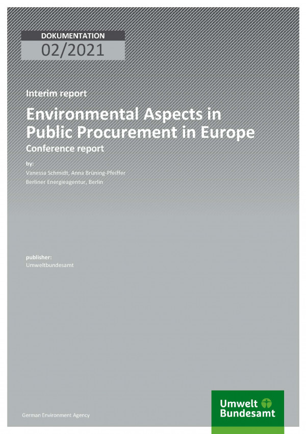 Cover of publication Dokumentation 02/2021 Environmental Aspects in Public Procurement in Europe