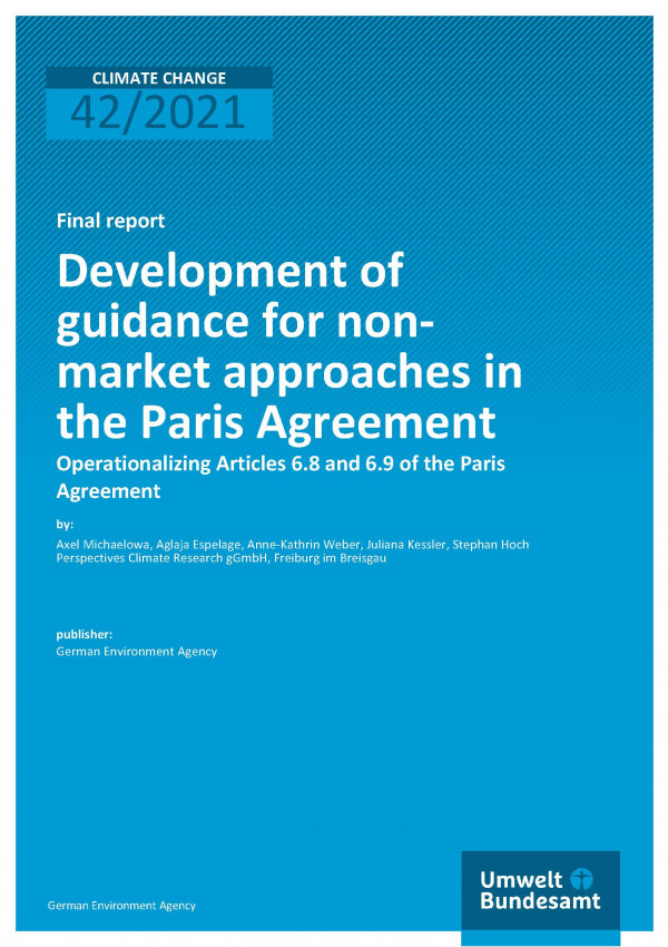 Cover of publication Climate CDevelopment of guidance for nonmarket approaches in the Paris Agreement: Operationalizing Articles 6.8 and 6.9 of the Parishange 42/2021