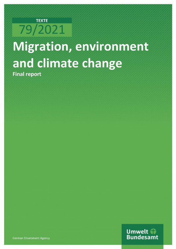 Cover of publication TEXTE 79/2021 Migration, environment and climate change