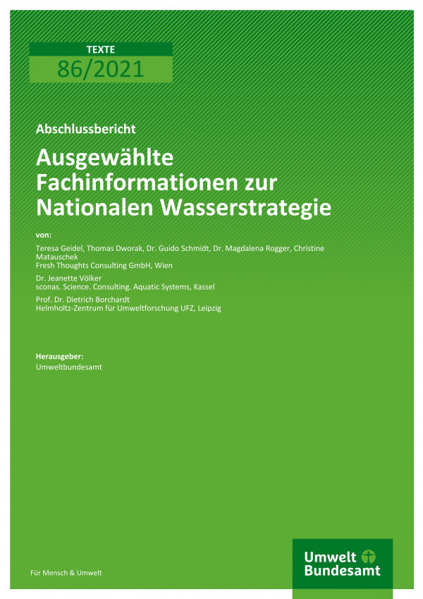 Titelseite der Publikation TEXTE 86/2021 Ausgewählte Fachinformationen zur Nationalen Wasserstrategie
