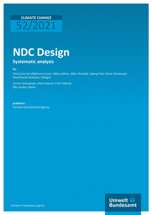 Cover of publication Climate Change 52/2021 NDC Design: Systematic analysis