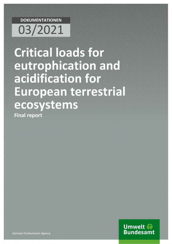 Cover of publication Dokumentation 03/2021 Critical loads for eutrophication and acidification for European terrestrial ecosystems