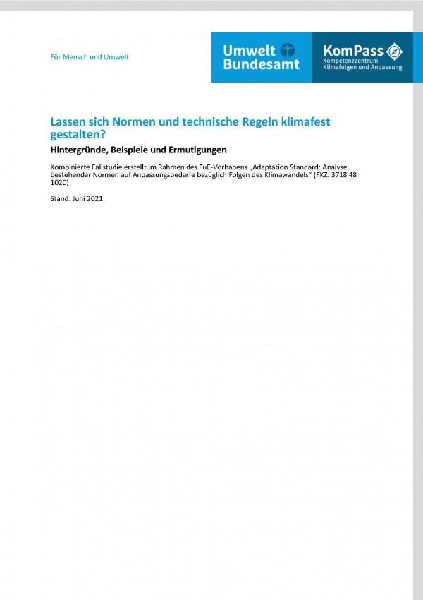 """Titelseite des Fact-Sheets """"Lassen sich Normen und technische Regeln klimafest gestalten? Hintergründe, Beispiele und Ermutigungen"""" aus dem Vorhaben mit der FKZ 3718 48 102 0"""